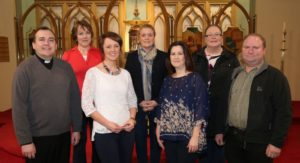 L-R Fr Declan Mulligan PP, Ann Clenaghan, Catherine McQuillan, Clare Ward, Collette Baine, Sharon Livingstone, Oliver Haire